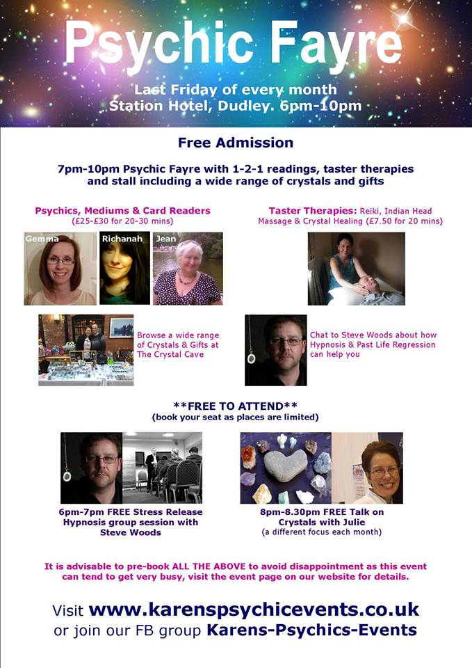 Psychic Fayre at the Station Hotel on 26 February