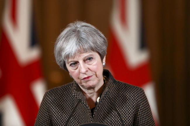 Prime Minister Theresa May during a press conference (Simon Dawson/PA)
