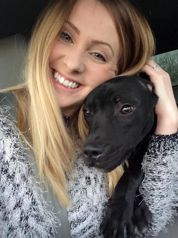 Jess Taylor-Jones with rescue staffie Little Mo.