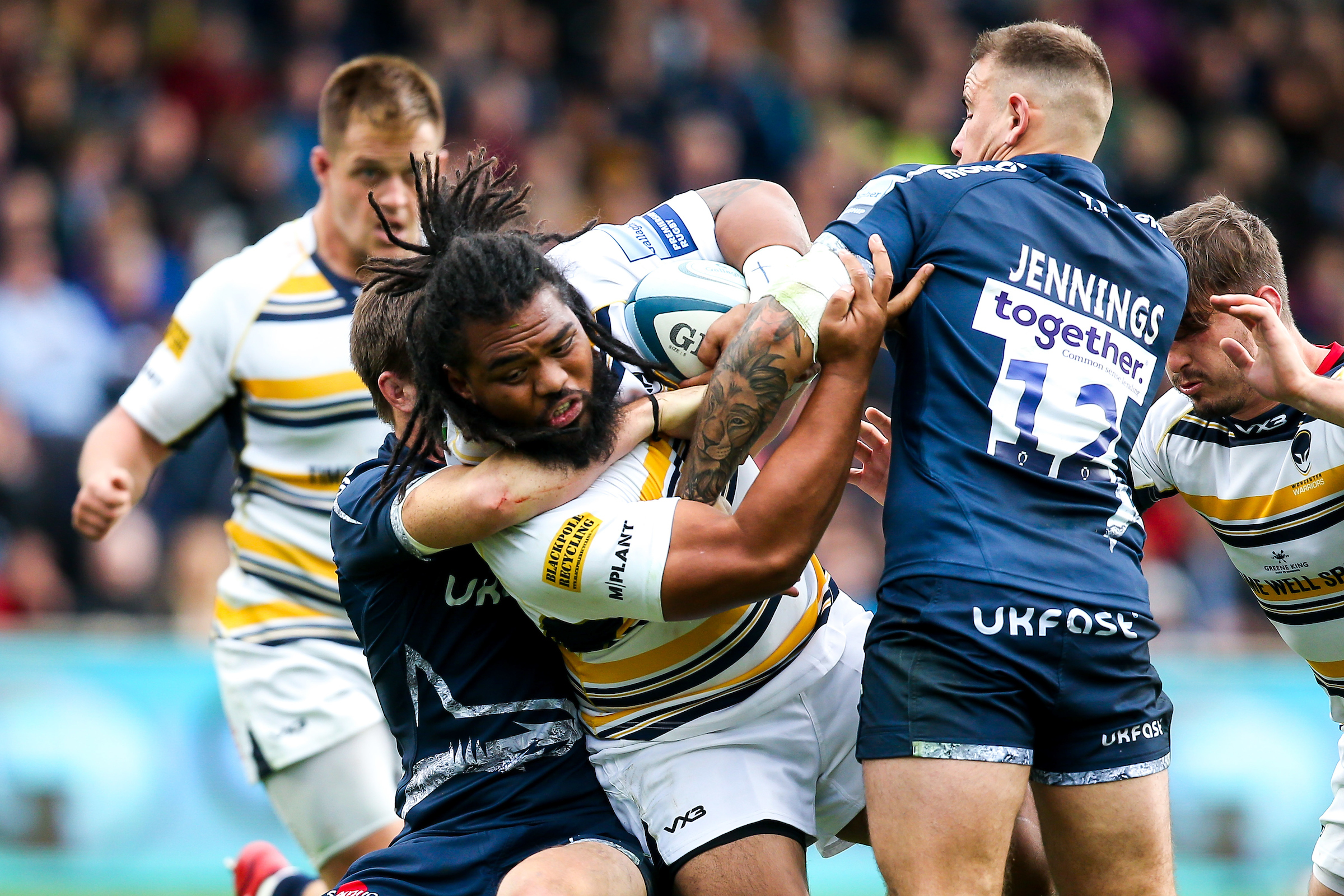 Worcester Warriors' Joe Taufete'e has to sit out this weekend. Picture: ROBBIE STEPHENSON/JMP