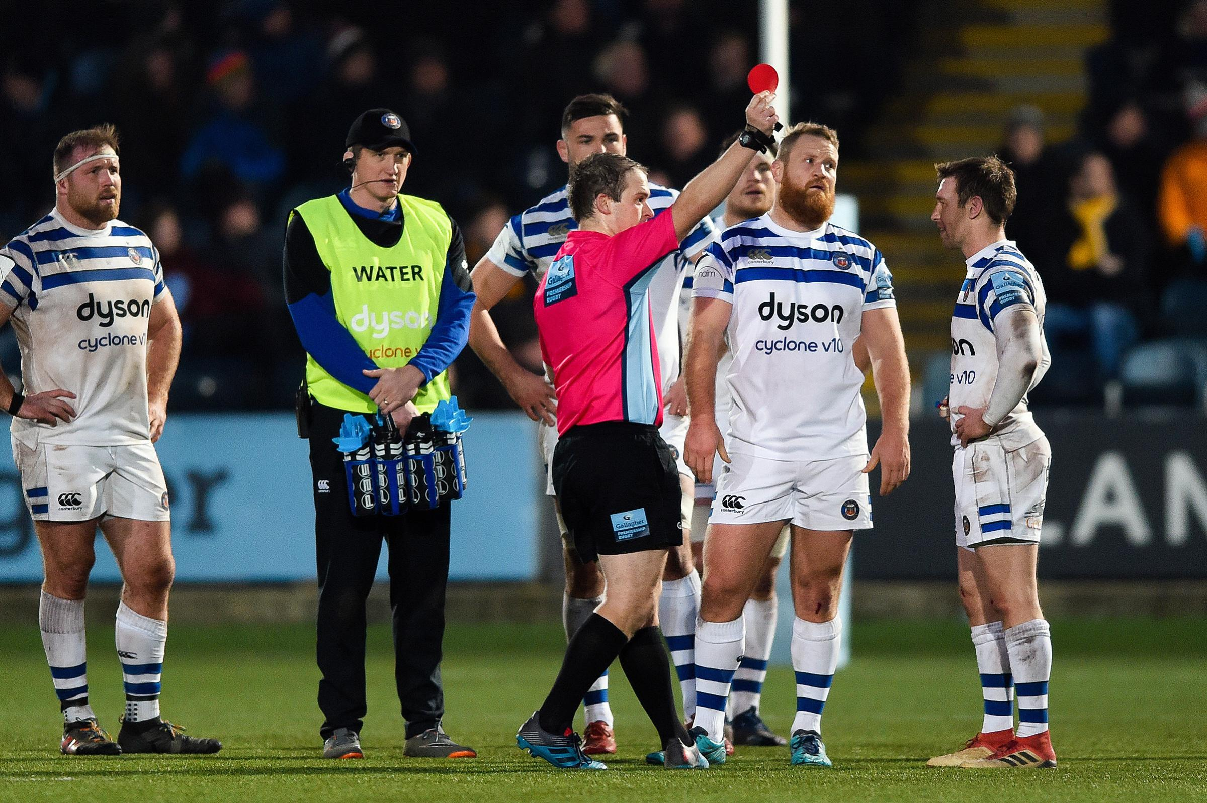 Ross Batty is shown a red card by referee Ian Tempest. Picture: Patrick Khachfe/JMP