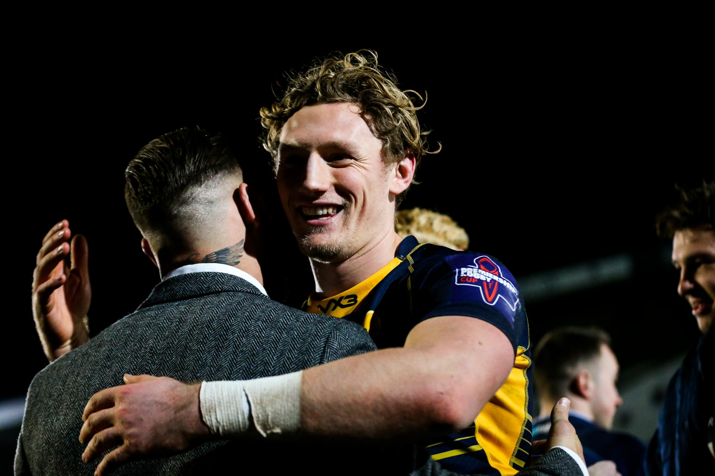 Tom Howe is congratulated after scoring two tries. Picture: Rogan Thomson/JMP