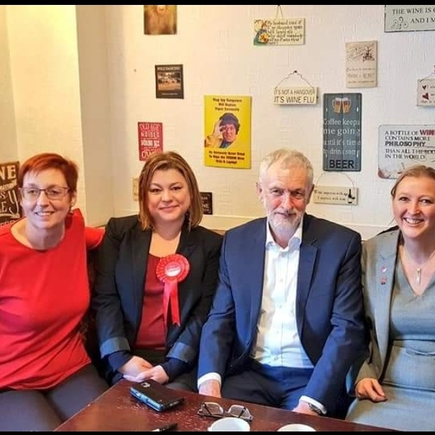 Gill Ogilvie Labour candidate for Walsall North, Rebecca Jenkins, Jeremy Corbyn, and Debbie Bannigan Labour candidate for Rugby