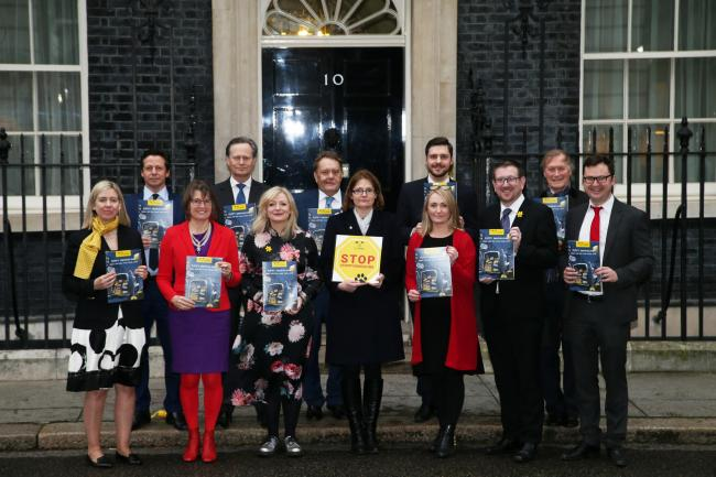 Redditch MP Rachel Maclean (in red) at Downing Street