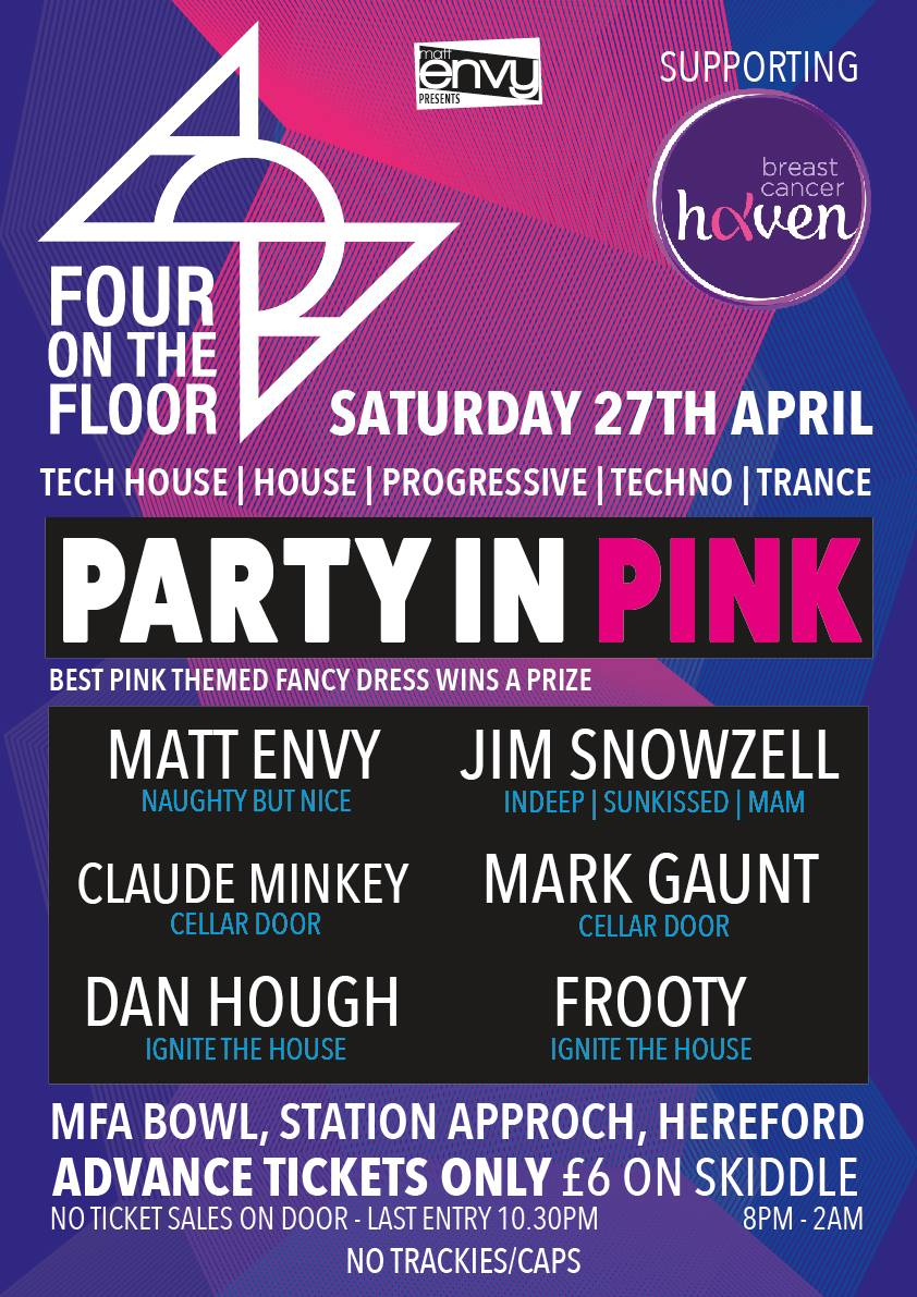 Tech House Music Night in support of Breast Cancer Haven