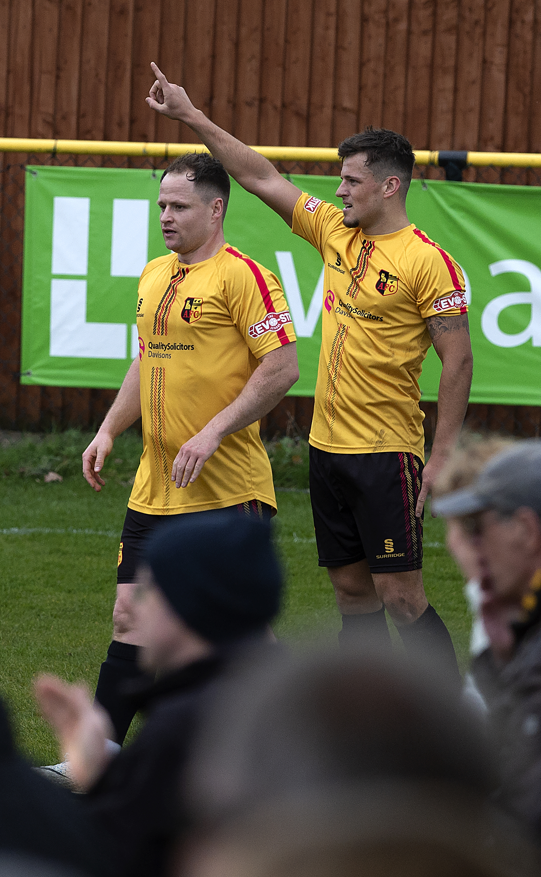 Josh March celebrates with Tom Tonks. Photo by Paul France