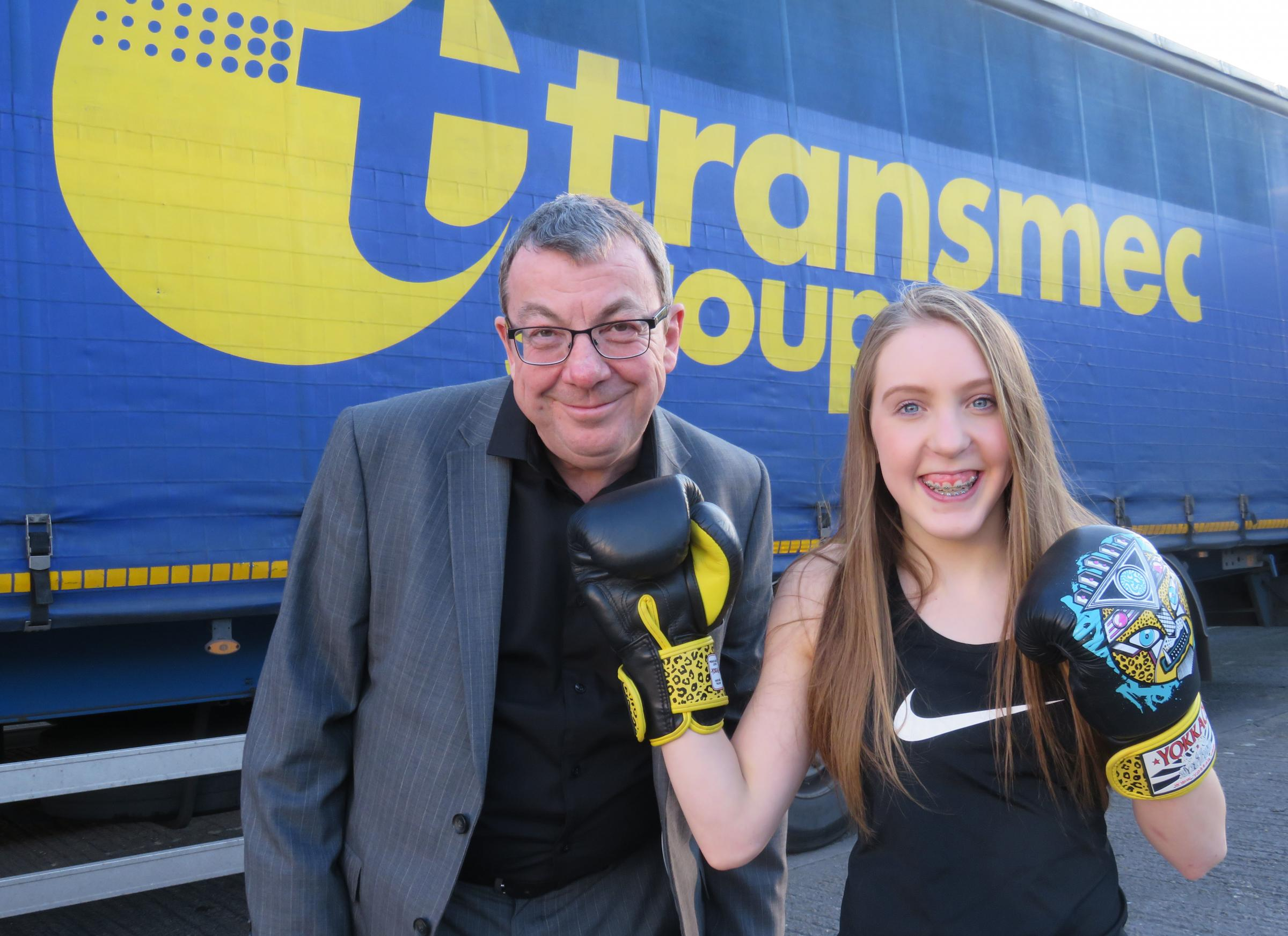 Knockout: Ellie Pardy with Phil Thomas from Transmac.