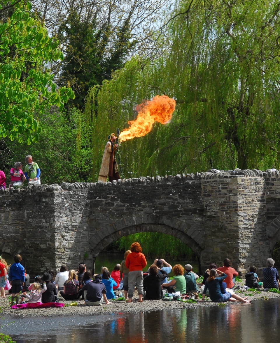 Breathing fire on the bridge at the Clun